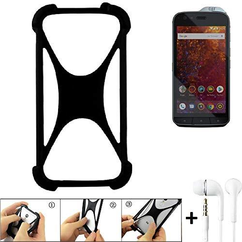 K-S-Trade Handyhülle für Caterpillar Cat S61 Schutzhülle Bumper Silikon Schutz Hülle Cover Case Silikoncase Silikonbumper TPU Softcase Smartphone, schwarz (1x), Headphones