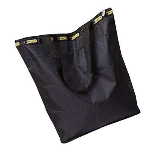BZLine® Frauen Leinwand Große Kapazitäts-Segeltuch-Strand-Tasche Handtasche Schwarz