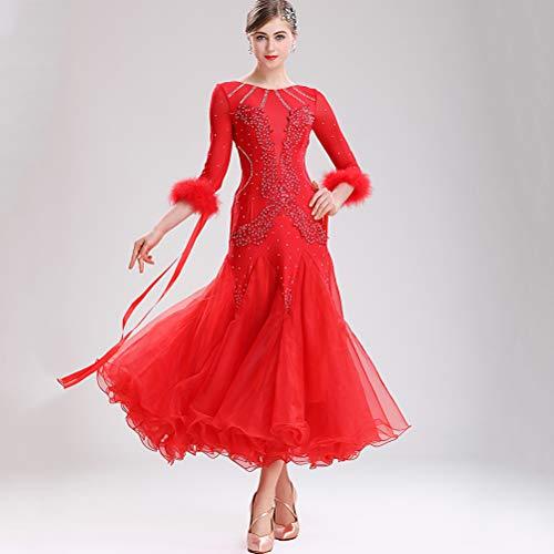 Kostüm Irlandais - Klassische Modern Dance Performance Kleider Big Swing Rock Feder 2/3 Ärmel Hochwertiges Walzer-Tanzkleid nach nationalem Standard Gesellschaftstanz Kostüm,Red,XL