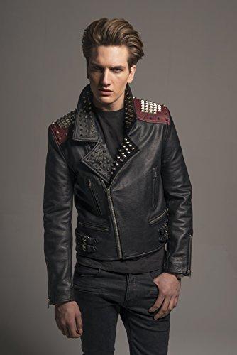 Herren Designer Fashion Biker Lederjacke, Schwarz – Rot, 100% Leder, Metal Zips and Studs, Trendy Vintage Rock Style Bikerjacke For Männer XS S M L XL XXL - 3