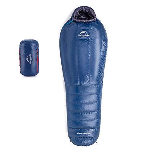 Tentock mummia sacco a pelo super caldo invernale impermeabile ultraleggero in piuma d'oca attrezzatura per dormire per campeggio viaggio trekking(blu,ulg400)