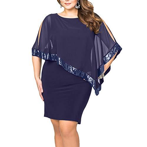 Ancapelion Damen Kleid Ärmellos Minikleid Chiffon Cocktailkleid Pailletten Pencil Partykleid Lässige Kleidung Abendkleid Frauenkleid Kleid für Frauen, Blau-Übergröße, 2XL(EU 48-50)