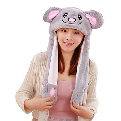 xiangpian183 Divertido Sombrero de Peluche de Felpa - Elefante/Koala Sombrero de Oreja móvil para niñas Mujer Regalo de Fiesta Halloween Navidad
