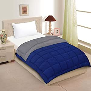 Urban Basics Blue Grey Ultra Soft 200 GSM Microfibre Reversible Single Bed Comforter for Home & Bedroom (60 in x 90 in)
