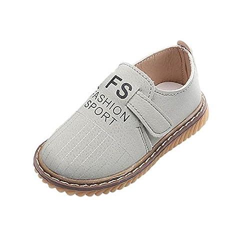 Chaussures Bébé PU Cuir Souple Muscle Vache Sneakers, QinMM Mignonne Chaussures Premiers Pas tout-petits Fille Garçon (EU 21, Gris)
