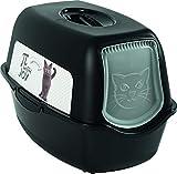Rotho 4552910537 Bailey Katzentoilette mit Haube und Motiv, schwarz mit Motiv