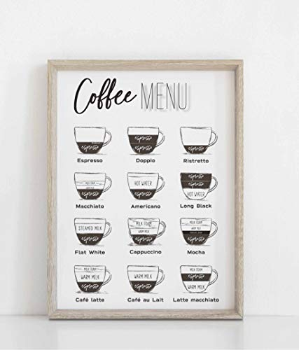 Coffee Poster, Coffee Print, Kitchen Wall Art, Coffee Menu Print, Coffee Bar Sign, Kitchen Wall Art Decor Unframed