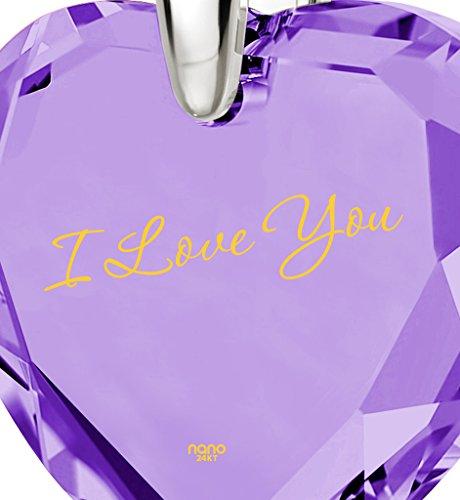 Pendentif Coeur - Bijoux Romantique en Argent fin avec I Love You inscrit en Or 24ct sur un Zircon Cubique en Forme de Coeur, 45cm - Bijoux Nano Violet Clair