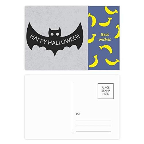 Hallowmas schwarze Fledermäuse Happy Halloween Banana Postkarten-Set, Danksagungskarte, Mailing-Seite, 20 Stück