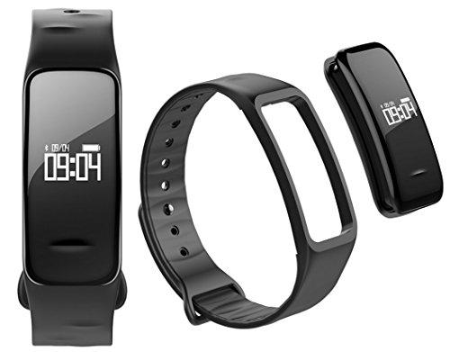 Fitness Tracker mit Herzfrequenz GPS Pulsmesser Blutdruck Blutsauerstoff Schrittzähler Smartwatch Armband Uhr - Atlanta 9700 (Schwarz)