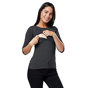 Happy-Mama-Mujer-Top-Camiseta-premam-Lactancia-Cuello-Redondo-Doble-Capa-988p-Grafito-Mezcla-EU-4244-2XL