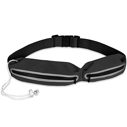 QIA Laufgürtel wasserdicht Gürteltasche, Mode Lycra Double Zip Folding Outdoor Travel Handytasche,Black Black Double-zip