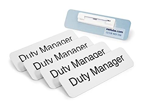 Meluba Badges   Duty Manager Badge - White Aluminium with Pin Fitting - 70x20mm [Pack of 5]