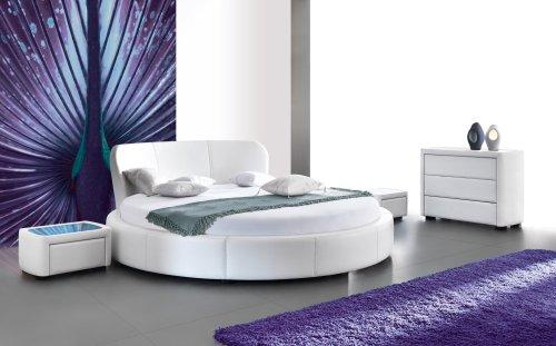 Perla Design Luxus Lounge Polsterbett Doppelbett Futon-Bett Leder Weiß SL19 NEU!