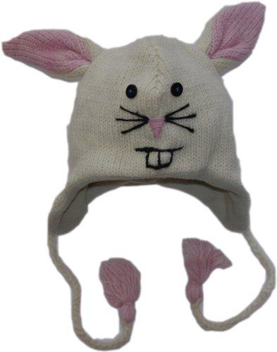 Wolle Nepalesische Hand Strickmütze-Normale Größe Gr. One Size, White Rabbit ()
