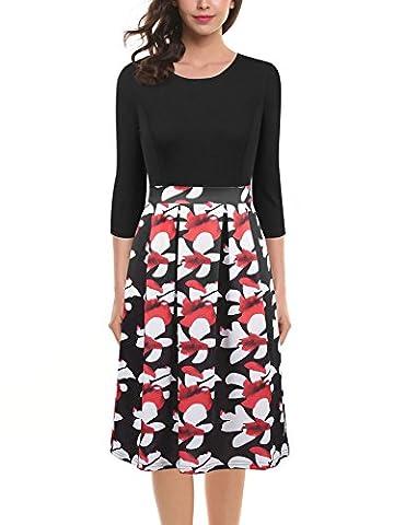 Vessos Women's Vintage Floral Scoop Neck Contrast Wear To Work Swing Dress Black floral X-Large
