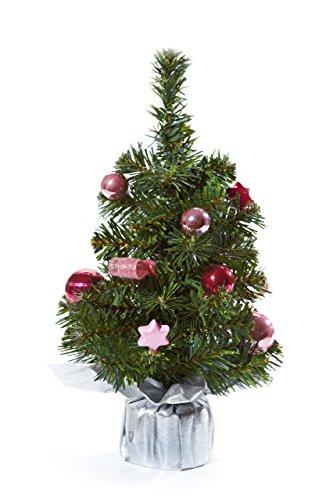 Heitmann DECO dekorierter Weihnachtsbaum - kleiner künstlicher Tannenbaum inkl. Schmuck - rosa, pink, silber - Kunststoffbaum