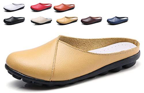 Leder Slipper und Mokassins für Damen Bootsschuhe Bequem Loafers Fahren Halbschuhe Flache Schuhe Frauen Pantoletten Slippers -