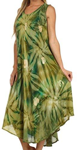 Sakkas Sternlicht-Kaftan-Behälter-Kleid / vertuschen Avocado / Grün