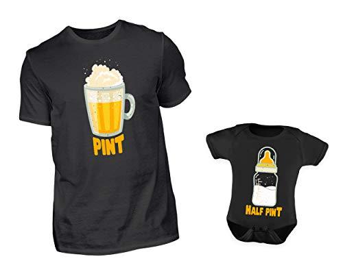 2er Set Vater Baby Partnerlook T-Shirt & Baby Body Strampler Bier & Babyflasche Rundhals Partneroutfit Set (M & 0-6 Monate) (Der Dude Baby Kostüm)