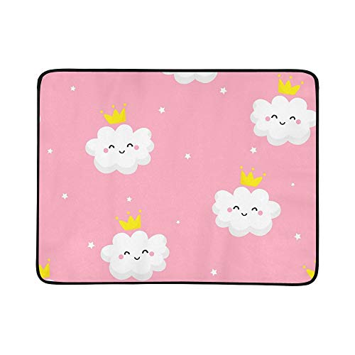 EIJODNL Cute Clouds Princess Stars Portable and Foldable Blanket Mat 60x78 Inch Handy Mat for Camping Picnic Beach Indoor Outdoor Travel
