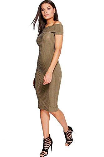 Khaki Savannah Off The Shoulder Ribbed Midi Dress Khaki