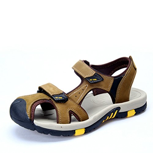 Men's Genuine Leather Breathable Casual Sandals Kaki