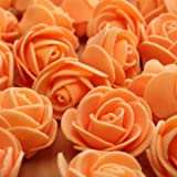 #8: 50pcs 2.5cm Artificial Roses PE Foam Rose Flower Wedding Party Home Decoration Valentine's day Fake Flowers-Orange
