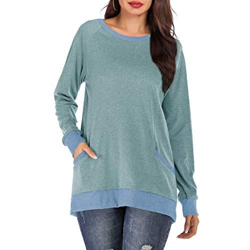 generisch Damen Langarm Shirt - Atmungsaktive Longsleeve Tops mit Daumenloch Frauen V-Ausschnitt Baumwolle Langarm Plus Size Solid Color Bloues T-Shirt (Tank Girl Kostüm Für Verkauf)