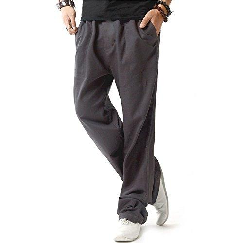 donhobo Herren Hosen Leinen mit Seitentaschen Lässige Hose Loose Freizeithose(Dunkelgrau,M)