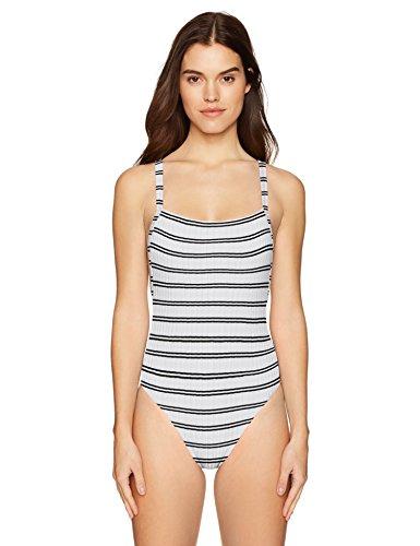 Tank One Piece Swimsuit (Seafolly Women's 80's High Cut Tank One Piece Swimsuit, Inka Stripe White, 12 US)
