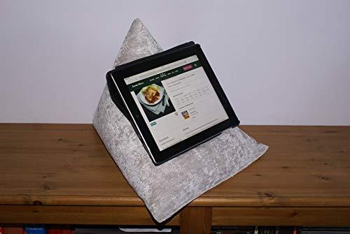 Edge Beanbags Techbed Maxi iPad PRO da 12,9', Tablet di Grandi Dimensioni, eBook Reader e Book Stand Cuscino di Supporto per Borsa di Fagioli per Tutti i dispositivi Fino a 12,9' (Argento)