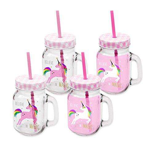 PPD Pink Unicorn Party-Trinkglas, 4er Set, Partyglas, Trinkbecher, Trinkgläser, Glas, Weiß / Pink, 400 ml, 603263
