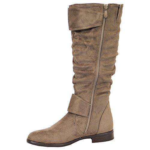 Donna Stivali da donna, Lunga ginocchia polpaccio camoscio look scarpe fibbia Fodera PILE INVERNO Khaki - Y810