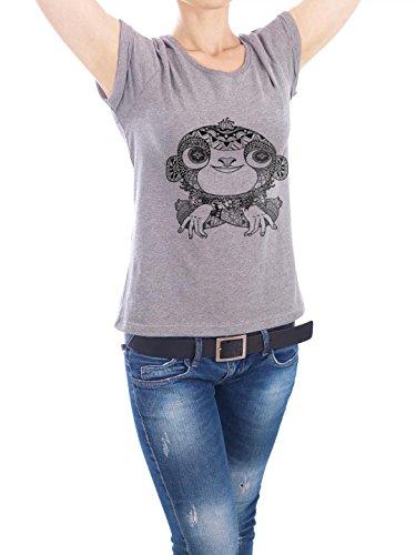 """Design T-Shirt Frauen Earth Positive """"Zentangle Affe"""" - stylisches Shirt Tiere von Benjamin Bertram Grau"""
