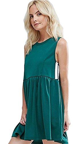 Moda Senza Maniche Varsity-A Righe a pieghe Stilee impero Canotte Tank Vest Mini Corte Corta Svasato a trapezio Maternità Dress Vestito Abito Verde