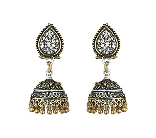 Waama Jewels Navratri Special Jewellery Earrings Rajasthani Designer Earring Oxidised Silver/Gold Jhumka/Jhumki Trendy Fancy Party Wear Earrings Jewellery for Girls & Women  available at amazon for Rs.99