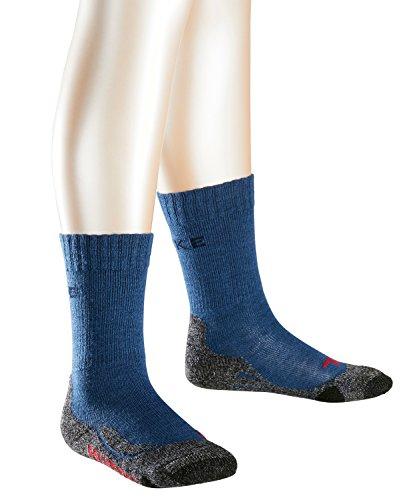 FALKE TK2 Kinder Trekkingsocken / Wandersocken - blau, Gr. 27-30, 1 Paar, Merinowolle-Mix, feuchtigkeitsregulierend, dämpfende Wirkung, mittelstarke Polsterung