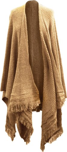 femme long tricot côtelé Cape poncho écharpe étole enveloppant chute d' EAU MARNE fil ivoire, rouge, noir, beige, Lt Grey ,charbon ,violet,Marine,marron Beige - Lt Beige