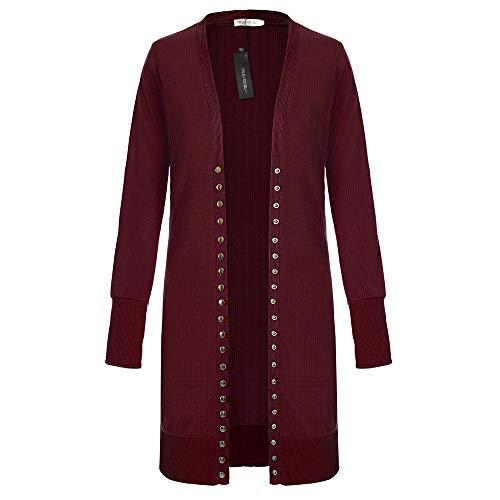 SELENECHEN Damen Cardigan Langarm Strickjacke Casual Cardigan Knopf V-Ausschnitt Outwear Mantel Herbst Winter (Weinrot, XL) Lange Damen Winter Mäntel