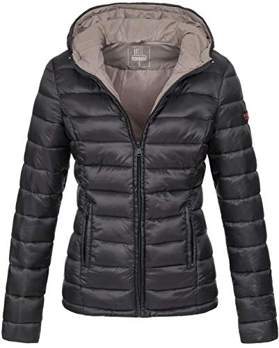 Marikoo Damen Jacke Steppjacke Übergangsjacke gesteppt B651 [B651-Luc-Schwarz-Gr.L] (Gesteppte Jacke Frauen Schwarz)