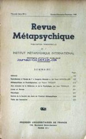 REVUE METAPSYCHIQUE [No 4] du 01/10/1948 - L'IMAGERIE MENTALE PAR RENE WARCOLLIER - METAPSYCHIQUE ET PRESTIDIGITATION PAR ROBERT TOCQUET - AUX AVENCEES DE LA MEDECINE ET DE LA PSYCHOLOGIE PAR JEAN TENAILLE