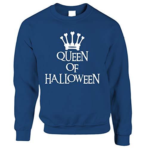 Tim And Ted Neuheit Spooky Unisex-Pullover Queen of Halloween Crown Royal Blue - Crown Royal Kostüm Mädchen