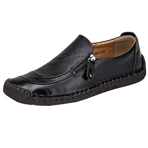 FNKDOR Schuhe Herren Geschäft Freizeit Lederschuhe Bootsschuhe Seitlicher Reißverschluss Hohl Atmungsaktiv Runder Kopf Slip-On Faule Schuhe Schwarz 47 EU