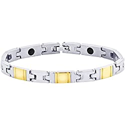 BeBold Plain Magnetic Gold Stainless Steel Fashion Bracelet for Men Boys