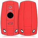 kwmobile BMW Autoschlüssel Hülle - Silikon Schutzhülle Schlüsselhülle Cover für BMW 3-Tasten Autoschlüssel (nur Keyless Go) Rot