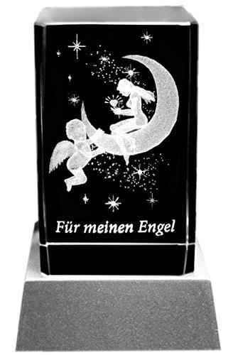 Kaltner Präsente Stimmungslicht - EIN ganz besonderes Geschenk: LED Kerze/Kristall Glasblock / 3D-Laser-Gravur Verliebte Himmel FÜR Meinen Engel -