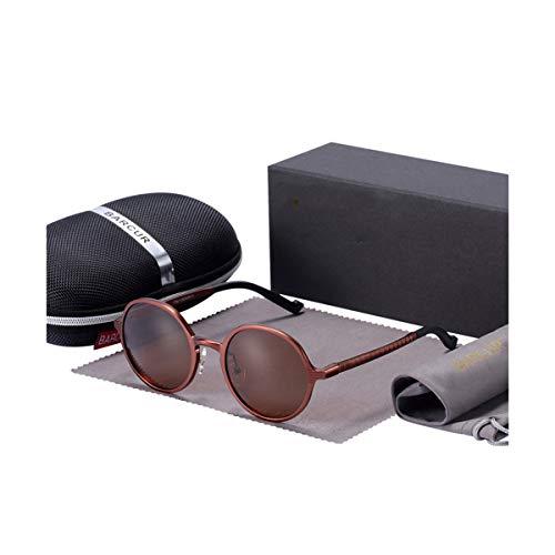 DYFDHA Sonnenbrille Hot Black Goggle Male Round Sunglasses Luxury Brand Men Glasses Retro Vintage Damen Sun Glasses UV400 Retro Style, Braun Einheitsgröße