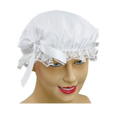 2-x-white-maids-cap-victorian-lady-lace-bonnet-hat-cleaner-fancy-dress