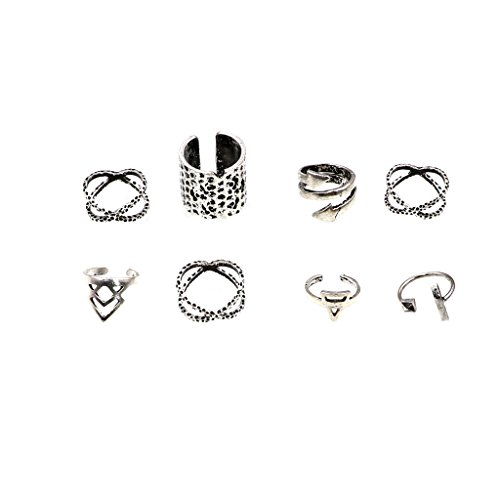 Set 8Pcs Antik Silber Trendy Fashion Joint Knuckle Midi Nagel Ringe - Ringe Knuckle Oben Silber Für